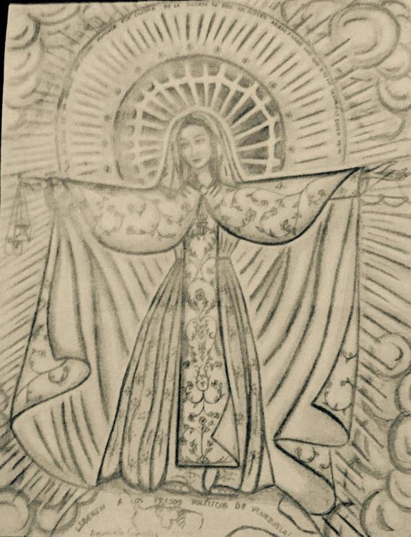 Virgen dibujada por Araminta González